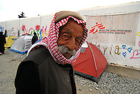 Idomeni / Greece 03/04/2016<br /> An elder Kurdish refugee photographed near the tents set up by the Medicines sans Frointieres in Idomeni refugees near the border between Greece and Republic of Macedonia. <br /> Photo Livio Senigalliesi
