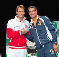 Switserland, Genève, September 17, 2015, Tennis,   Davis Cup, Switserland-Netherlands, Draw, second single Roger Federer vs Jesse Huta Galung (R)<br /> Photo: Tennisimages/Henk Koster