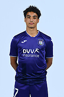 30th July 2020, Turbize, Belgium;   Ilias Takidine forward of Anderlecht pictured during the team photo shoot of RSC Anderlecht prior the Jupiler Pro league football season 2020 - 2021 at Tubize training Grounds.