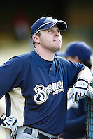 Gabe Gross of the Milwaukee Brewers during batting practice before a game from the 2007 season at Dodger Stadium in Los Angeles, California. (Larry Goren/Four Seam Images)