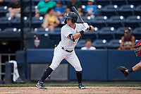 Thomas Milone (19) of the Scranton/Wilkes-Barre RailRiders at bat against the Rochester Red Wings at PNC Field on July 25, 2021 in Moosic, Pennsylvania. (Brian Westerholt/Four Seam Images)
