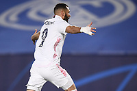 16th March 2021; Madrid, Spain; during the Champions League match, round of 16, between Real Madrid and Atalanta;  Goal celebration from Karim Benzema