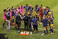 SANDY, UT - OCTOBER 03: Utah Royals FC huddle before a game between Portland Thorns FC and Utah Royals FC at Rio Tinto Stadium on October 03, 2020 in Sandy, Utah.