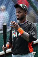 Miami Marlins shortstop Jose Reyes #7 during batting practice before a game against the Philadelphia Phillies at Citizens Bank Park on April 9, 2012 in Philadelphia, Pennsylvania.  Miami defeated Philadelphia 6-2.  (Mike Janes/Four Seam Images)