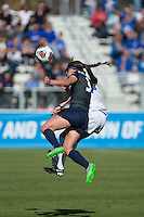 Cary, North Carolina - Sunday December 6, 2015: Kaleigh Riehl (3) of the Penn State Nittany Lions heads the ball away from Taylor Racioppi (7) of the Duke Blue Devils during first half action at the 2015 NCAA Women's College Cup at WakeMed Soccer Park.  The Nittany Lions defeated the Blue Devils 1-0.