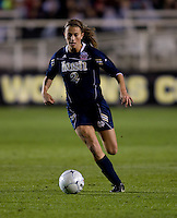 Mandy Laddish (2) of Notre Dame brings the ball up the field during the first game of the NCAA Women's College Cup at WakeMed Soccer Park in Cary, NC.  Notre Dame defeated Ohio State, 1-0.