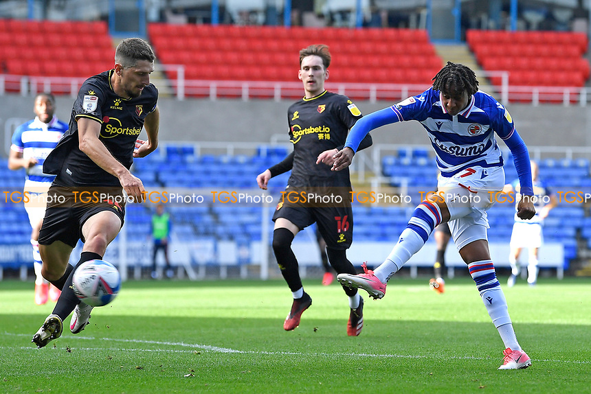 Michael Olise of Reading has a shot on goal during Reading vs Watford, Sky Bet EFL Championship Football at the Madejski Stadium on 3rd October 2020