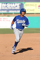 Ariel Sandoval (6) of the Rancho Cucamonga Quakes runs the bases during a game against the High Desert Mavericks at Heritage Field on August 7, 2016 in Adelanto, California. Rancho Cucamonga defeated High Desert, 10-9. (Larry Goren/Four Seam Images)