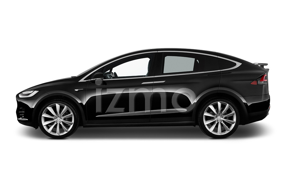 Car Driver side profile view of a 2017 Tesla Model-X 100D 5 Door SUV Side View