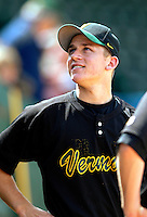 21 April 2007: University of Vermont Catamounts' Bryan Rembisz, a Senior from Clinton, CT, looks into the stands after a game against the University of Hartford Hawks at Historic Centennial Field, in Burlington, Vermont. Rembisz pitched a complete 7-inning game and drove in the game-winning RBI as the Catamounts shut out the Hawks 1-0 in the first game of a double-header...Mandatory Photo Credit: Ed Wolfstein Photo