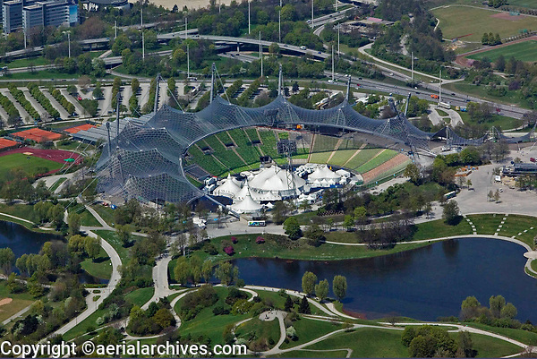 aerial photograph of the Olympic Stadium, Olympiastadion, Munich, Germany | Luftbild Olympiastadion, München, Deutschland