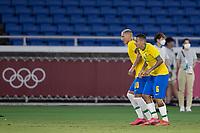 22nd July 2021; Stadium Yokohama, Yokohama, Japan; Tokyo 2020 Olympic Games, Brazil versus Germany; Richarlison of Brazil celebrates his goal in the 21st minute for 2-0 with Guilherme Arana