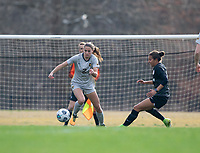 LOUISVILLE, KY - MARCH 13: Mackenzie Aunkst #2 of West Virginia University moves the ball down the field during a game between West Virginia University and Racing Louisville FC at Thurman Hutchins Park on March 13, 2021 in Louisville, Kentucky.