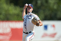 High Point-Thomasville HiToms relief pitcher Brody McCullough (36) (Wingate) in action against the Old North State League West All-Stars at Hooker Field on July 11, 2020 in Martinsville, VA. The HiToms defeated the Old North State League West All-Stars 12-10. (Brian Westerholt/Four Seam Images)