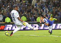 BOGOTA -COLOMBIA- 31 -08-2013. Dayro Moreno   de Millonarios celebra su tercer  gol  contra el Huila ,  partido correspondiente a la octava  fecha de la  Liga Postobón segundo semestre disputado en el estadio Nemesio Camacho El Campín      / Dayro Moreno of Los Millonarios celebrates his goal against Huila, game for the eighth day of the second semester Postobón League match at the Estadio Nemesio Camacho El Campin El Campin. Photo: VizzorImage / Felipe Caicedo / Sttaff