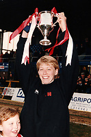 Carol Harwood of Wembley lifts the Cup during Doncaster Belles vs Wembley Ladies, FA Women's Premier League Cup Final Football at Underhill, Barnet FC on 10th March 1996