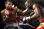 Kendall Holt  (l) lands a  left  hook flush on Isaac Hlatswayo during their Vacant NABO Junior Welterweight 12 rounds title fight at the Bally's hotel casino in Atlantic City, N.J. on 11.03.2006.&#xA;Holt won by unanimous decision and moved to 21 - 1.<br />