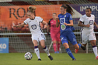 Sarah Wijnants (11) of Anderlecht and Silke Vanwynsberghe (21) of AA Gent Ladies pictured during a female soccer game between RSC Anderlecht Dames and AA Gent Ladies  on the fourth matchday of the 2021 - 2022 season of Belgian Womens Super League , friday 10 th of September 2021 in Overijse , Belgium . PHOTO SPORTPIX | DIRK VUYLSTEKE