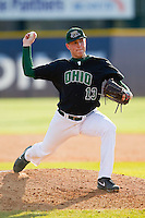 Ohio Bobcats relief pitcher Brad Przebieda (13) in action against the High Point Panthers at Willard Stadium on March 6, 2013 in High Point, North Carolina.  The Panthers defeated the Bobcats 4-1.  (Brian Westerholt/Four Seam Images)