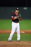 Batavia Muckdogs pitcher Dillon Peters (49) gets ready to deliver a pitch during a game against the Lowell Spinners on August 12, 2015 at Dwyer Stadium in Batavia, New York.  Batavia defeated Lowell 6-4.  (Mike Janes/Four Seam Images)