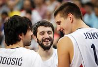 Kosarka FIBA Olympic Basketball Qualifying Tournament-FINAL<br /> Serbia v Puerto Rico<br /> Milos Teodosic (L) Stefan Markovic and Nikola Jokic (R)<br /> Beograd, 09.07.2016.<br /> foto: Srdjan Stevanovic/Starsportphoto©