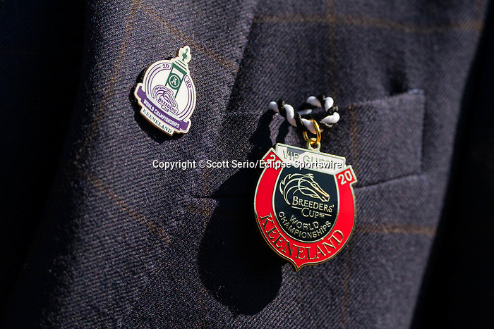 November 6, 2020: An attendee wears a Breeder's Cup 2020 pin at Keeneland Racetrack in Lexington, Kentucky, on Friday, November 6, 2020. Scott Serio/Eclipse Sportswire/Breeders Cup/CSM