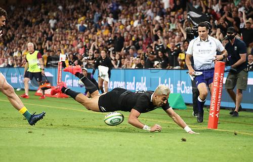 7th November 2020, Brisbane, Australia; Tri Nations International rugby union, Australia versus New Zealand;  Rieko Ioane of The Allblacks scores a try