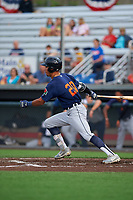 Connecticut Tigers Avery Tuck (20) bats during a NY-Penn League game against the Auburn Doubledays on July 12, 2019 at Falcon Park in Auburn, New York.  Auburn defeated Connecticut 7-5.  (Mike Janes/Four Seam Images)
