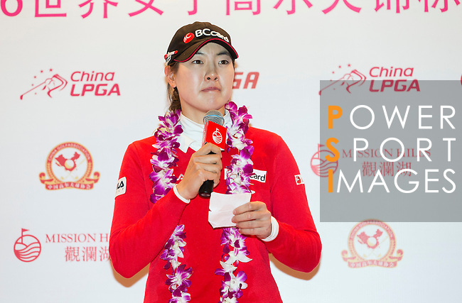 The winner: Jung Min Lee of South Korea during thePrize giving ceremony of the World Ladies Championship 2016 on 13 March 2016 at Mission Hills Olazabal Golf Course in Dongguan, China. Photo by Victor Fraile / Power Sport Images
