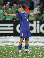 Italian forward (7) Alessandro Del Piero celebrates winning the tournament.  Italy defeated France on penalty kicks after leaving the score tied, 1-1, in regulation time in the FIFA World Cup final match at Olympic Stadium in Berlin, Germany, July 9, 2006.