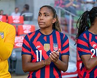AUSTIN, TX - JUNE 16: Catarina Macario #11 of the USWNT stands on the sideline before a game between Nigeria and USWNT at Q2 Stadium on June 16, 2021 in Austin, Texas.