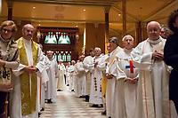 """Les funerailles du Pere Emmett Johns, """"Pops"""", celebres par l'Archeveque de Montreal Christian Lepine, le 27 Janvier 2018 a la Basilique Saint-Patrick. <br /> <br /> PHOTO :  Pierre Bourgault - Hand Out"""
