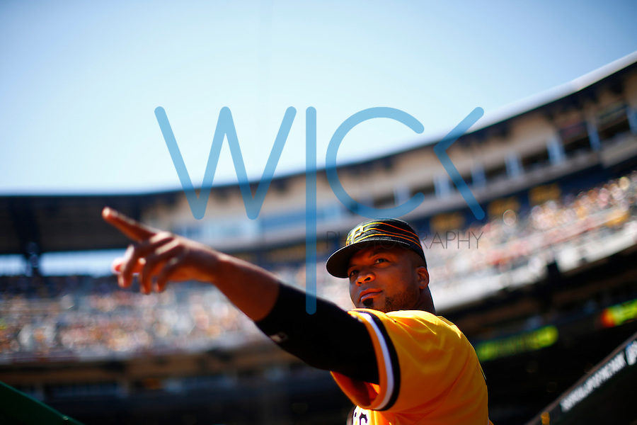 Francisco Liriano #47 of the Pittsburgh Pirates points to the outfield against the Milwaukee Brewers during the game at PNC Park in Pittsburgh, Pennsylvania on April 17, 2016. (Photo by Jared Wickerham / DKPS)