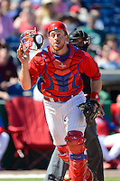 Philadelphia Phillies catcher Erik Kratz #31 during a Spring Training game against the Dominican Republic at Bright House Field on March 5, 2013 in Clearwater, Florida.  The Dominican defeated Philadelphia 15-2.  (Mike Janes/Four Seam Images)