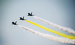 People's Liberation Army Air Force (PLAAF) Chengdu J-10 jet fighters, manufactured by Chengdu Aerospace Corp., a unit of Aviation Industry Corp. of China (AVIC), flies for an aerobatics display at the China International Aviation & Aerospace Exhibition (Airshow China 2016) at China International Aviation Exhibition Center on 02 November 2016, in Zhuhai, China. Photo by Marcio Machado / Power Sport Images