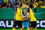 09.08.2019, Merkur Spiel-Arena, Düsseldorf, GER, DFB Pokal, 1. Hauptrunde, KFC Uerdingen vs Borussia Dortmund , DFB REGULATIONS PROHIBIT ANY USE OF PHOTOGRAPHS AS IMAGE SEQUENCES AND/OR QUASI-VIDEO<br /> <br /> im Bild | picture shows:<br /> Kevin Grosskreutz (KFC Uerdingen #6) mit Marco Reus (Borussia Dortmund #11) und Jadon Sancho (Borussia Dortmund #7), <br /> <br /> Foto © nordphoto / Rauch