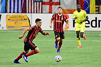 """ATLANTA, GA - AUGUST 22: Gonzalo """"Pity"""" Martinez #10 dribbles the ball during a game between Nashville SC and Atlanta United FC at Mercedes-Benz Stadium on August 22, 2020 in Atlanta, Georgia."""