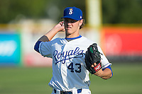 Burlington Royals starting pitcher Ashe Russell (43) warms up in the outfield prior to the game against the Bluefield Blue Jays at Burlington Athletic Park on June 29, 2015 in Burlington, North Carolina.  The Royals defeated the Blue Jays 4-1. (Brian Westerholt/Four Seam Images)