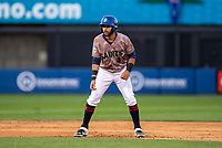 St. Paul Saints outfielder Gilberto Celestino (4) during a game against the Omaha Storm Chasers on September 7, 2021 at CHS Field in St. Paul, Minnesota.  (Brace Hemmelgarn/Four Seam Images)