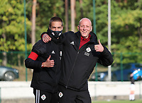 OHL's video analyst Lawrence (L) and OHL's assistant coach Arno Van Den Abbeel pictured during the warm up before a female soccer game between Oud Heverlee Leuven and Eendracht Aalst Ladies  on the third matchday of the 2020 - 2021 season of Belgian Womens Super League , Sunday 4 th of October 2020  in Heverlee , Belgium . PHOTO SPORTPIX.BE | SPP | SEVIL OKTEM
