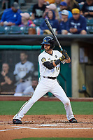 Nick Franklin (14) of the Salt Lake Bees at bat against the Oklahoma City Dodgers at Smith's Ballpark on July 31, 2019 in Salt Lake City, Utah. The Dodgers defeated the Bees 5-3. (Stephen Smith/Four Seam Images)