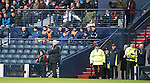 """The Rangers bench looking odd in the """"Celtic end"""" technical area"""