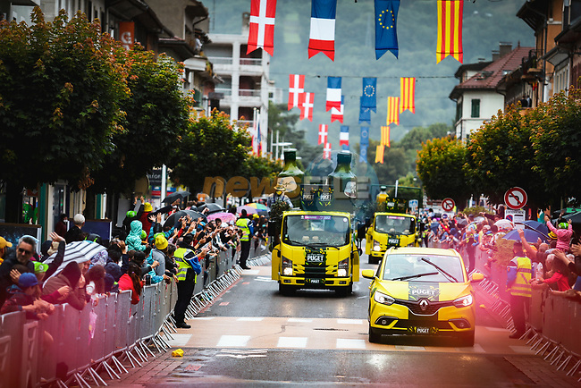 The publicity caravan before Stage 9 of the 2021 Tour de France, running 150.8km from Cluses to Tignes, France. 4th July 2021.  <br /> Picture: A.S.O./Aurelien Vialatte | Cyclefile<br /> <br /> All photos usage must carry mandatory copyright credit (© Cyclefile | A.S.O./Aurelien Vialatte)