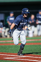 Rylan Bannon (6) of the Xavier Musketeers hustles down the first base line against the Charlotte 49ers at Hayes Stadium on March 3, 2017 in Charlotte, North Carolina.  The 49ers defeated the Musketeers 2-1.  (Brian Westerholt/Four Seam Images)