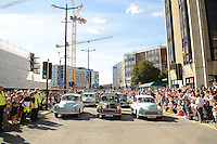 Pictured: Saturday 17 September 2016<br /> Re: Roald Dahl's City of the Unexpected has transformed Cardiff City Centre into a landmark celebration of Wales' foremost storyteller, Roald Dahl, in the year which celebrates his centenary.<br /> Morris Minors wait before the start of the Giant Peach parade down Westgate Street.
