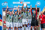 Masters Trophy Ceremony during day three of the HKFC Citibank Soccer Sevens 2015 on May 31, 2015 at the Hong Kong Football Club in Hong Kong, China. Photo by Xaume Olleros / Power Sport Images