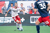 FOXBOROUGH, MA - JUNE 26: Alex Bruce #28 of North Texas SC during a game between North Texas SC and New England Revolution II at Gillette Stadium on June 26, 2021 in Foxborough, Massachusetts.