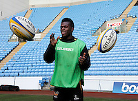 Photo: Richard Lane/Richard Lane Photography. Wasps Open Training Session at the Ricoh Arena ahead of their first game at the stadium. 16/12/2014. Christian Wade.