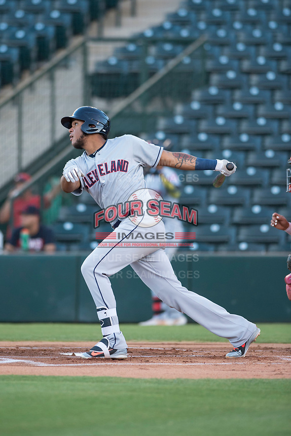 AZL Indians 2 first baseman Henderson De Oleo (17) follows through on his swing during an Arizona League game against the AZL Angels at Tempe Diablo Stadium on June 30, 2018 in Tempe, Arizona. The AZL Indians 2 defeated the AZL Angels by a score of 13-8. (Zachary Lucy/Four Seam Images)