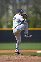 Catawba Indians starting pitcher Hunter Shepherd (18) in action against the Queens Royals during game two of a double-header at Tuckaseegee Dream Fields on March 26, 2021 in Kannapolis, North Carolina. (Brian Westerholt/Four Seam Images)